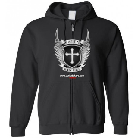 (SALE!) FaithBikers.com Shield and Wings Logo Zippered Hoodie