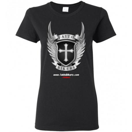 (SALE!) FaithBikers.com Shield and Wings Logo Women's T-Shirt