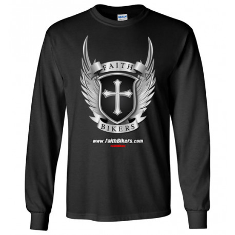 (SALE!) FaithBikers.com Shield and Wings Logo Long Sleeve T-Shirt