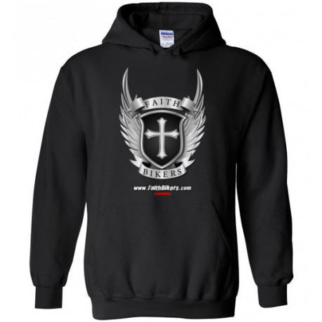 (SALE!) FaithBikers.com Shield and Wings Logo Hoodie