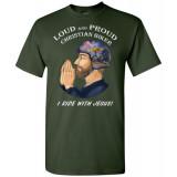 (SALE) Loud and Proud Christian Biker I Ride with Jesus Artwork Unisex T-Shirt