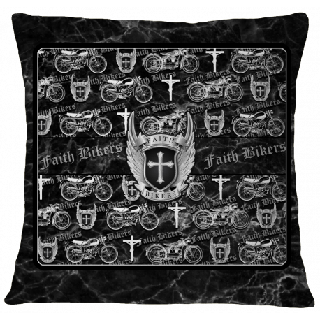 Faith Bikers Motorcycle Collage Pillow Case Cover - Marble