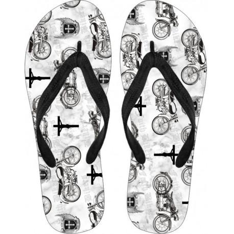 Faith Bikers Custom Brand Christian Biker Flip Flops (White)