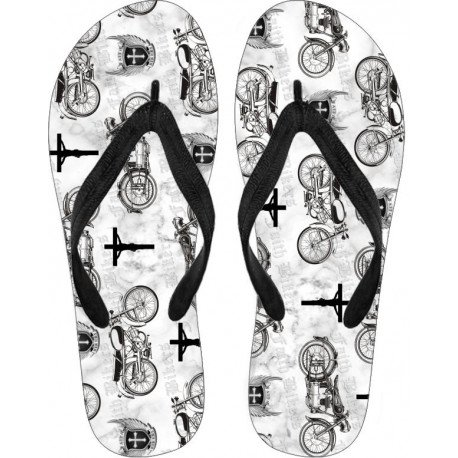 Faith Bikers Custom Brand Christian Biker Flip Flops (White)