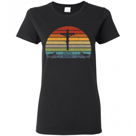Women's Faith Bikers Retro Sun Design T-Shirt