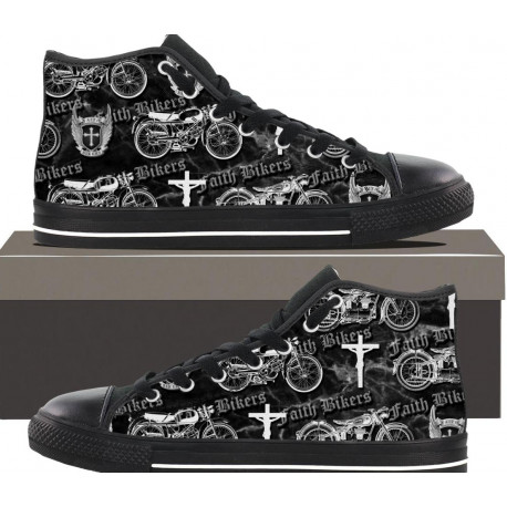 "Women's Faith Bikers Original ""Christian Biker"" High Top Canvas Shoes"