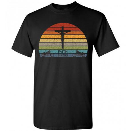 ON SALE! Faith Bikers Retro Sun and Cross Design T-Shirt (Unisex)