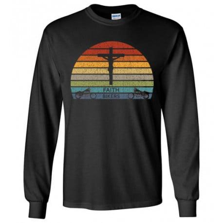 ON SALE! Faith Bikers Retro Sun and Cross Design Long Sleeve T-Shirt