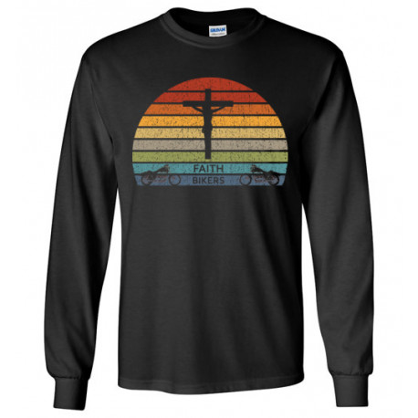 ON SALE! Faith Bikers Retro Sun and Cross Design Long Sleeve T-Shirt