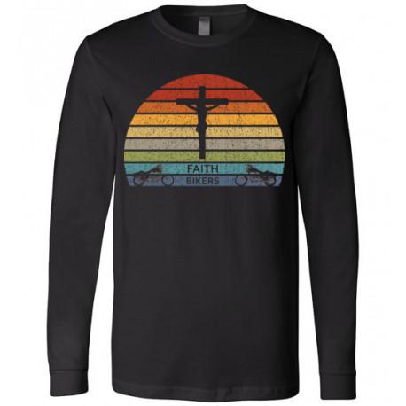 Faith Bikers Retro Sun and Cross Design Long Sleeve T-Shirt Premium