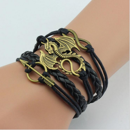 Harry Potter Power Dragon Black Woven Charm Bracelet
