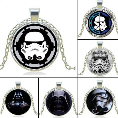 Star Wars Darth Vader Stormtrooper Metal Silver Pendant Necklace