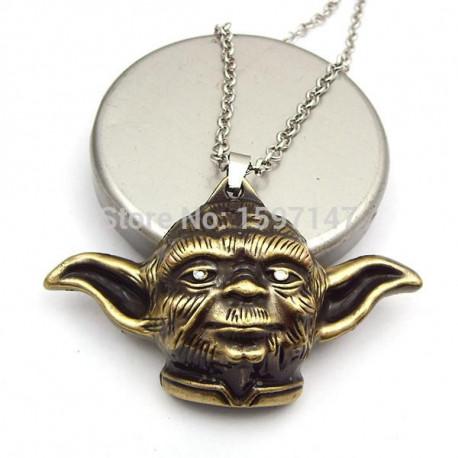 Star Wars Gold Bronze Jedi Master Yoda Pendant Necklace