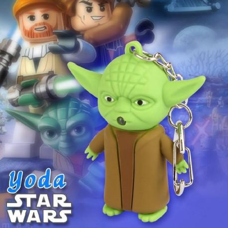 Star Wars Yoda LED Flashlight Home/Car Rubber Metal Keychain With Sound
