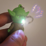 Star Wars Yoda LED Flashlight Home/Car Rubber Metal Keychain With Sound