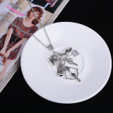 The Walking Dead Silver Metal Skeleton, Crossbow & Hatchet Necklace