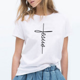 Jesus Cross T-Shirt for Women Short Sleeve