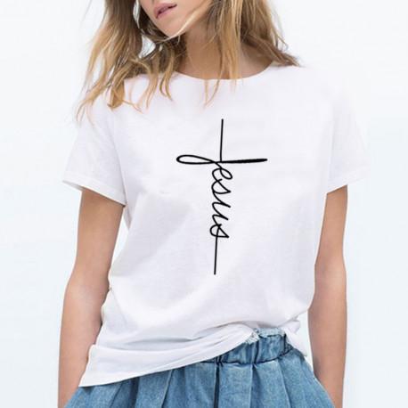 Jesus Cross T-Shirt for Women Short Sleeve