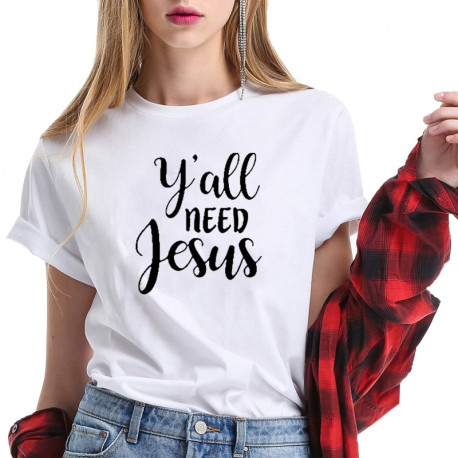 Y'all Need Jesus Faith T Shirt for Women Short Sleeve