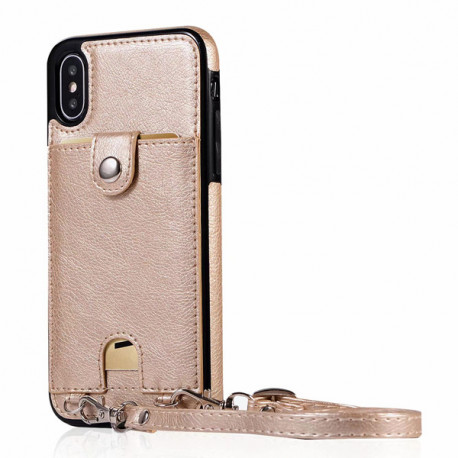 Womens iphone XR X 6 6S plus 8 7 plus XS MAX Case With Credit Card Holder & Cross Strap