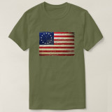 2019 Printed Short Sleeve Vintage Tattered Betsy Ross American Flag T-shirt  Men or Women