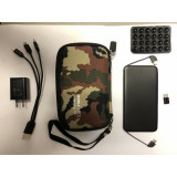 Includes 500mA portable charger, wall adapter, camouflage case, suction cup attachment,