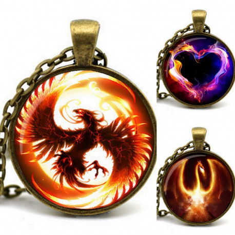 Game of Thrones Fire & Ice Pendant Firebird Dragon Heart Bronze