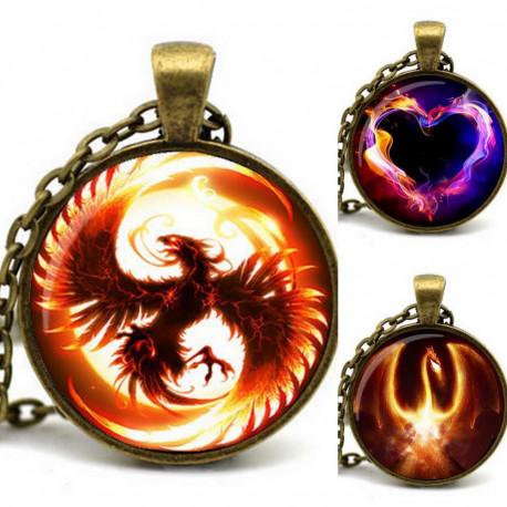 Game of Thrones Fire & Ice Pendant Firebird Dragon Heart Bronze