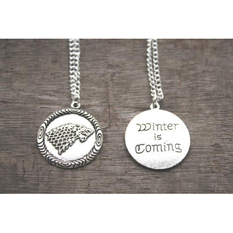 Game of Thrones Winter is Coming Wolf Pendant Necklace