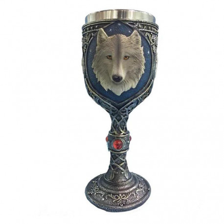 Game of Thrones Wolf Head Mug Goblet Glass Gothic Blue