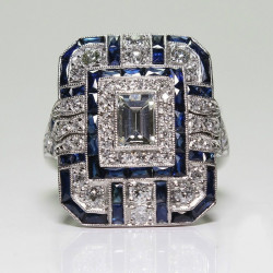 Vintage Silver Blue Green Cubic Zircon Geometric Square Ring for Men and Women