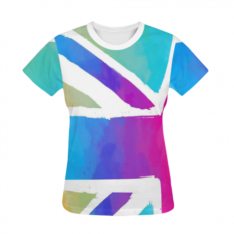 Women's All Over Print T-shirt - Union Flag on White