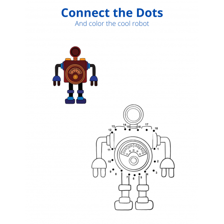 Connect the Dots and Color - Robot 2