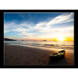 Beautiful Sunset With Beach Boat - 1 panel XL