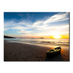 Beautiful Sunset With Beach Boat - 1 panel XL