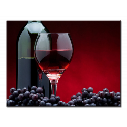 Red Wine Glass And Grapes - 1 panel