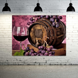 Grapes Barrel Wine - 1 panel