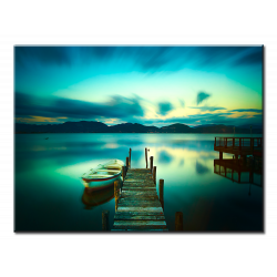 Wooden Pier With Boat Calm Lake - 1 panel