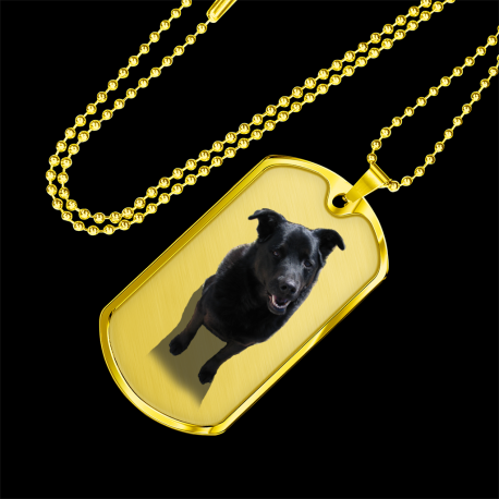 Black Lab (Gold Dog Tag)