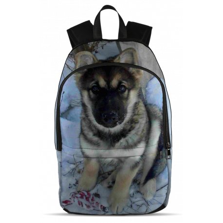 Malamute-Shepherd Puppy in the Snow - Backpack (Chewbacca The Mal-GSD-Wolf)