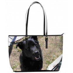 My Favorite Black Lab (Leather Tote Bag - Small)