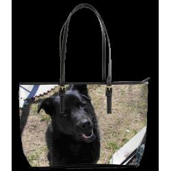 My Favorite Black Lab (Leather Tote Bag - Large)