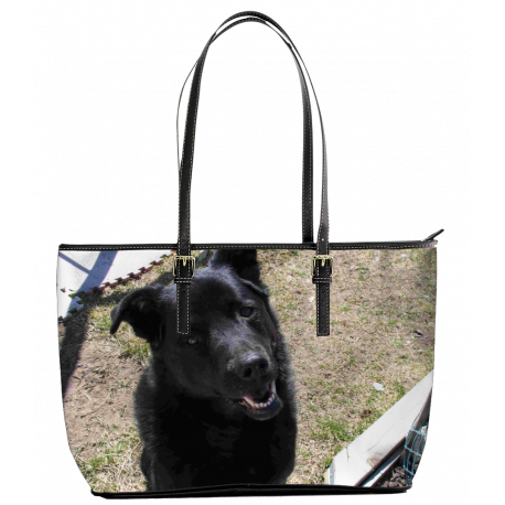 My Favorite Black Lab (Leather Tote Bag - Large)