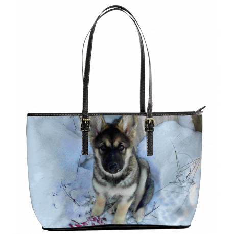 Malamute-Shepherd Puppy In The Snow - Leather Tote Bag (S) (Chewbacca The Mal-GSD-Wolf)