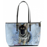 Malamute-Shepherd Puppy In The Snow - Leather Tote Bag (L) (Chewbacca The Mal-GSD-Wolf)