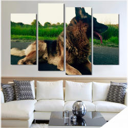 German Shepherd Wall Art 4 Piece Staggered