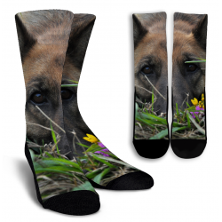Split German Shepherd Crew Socks