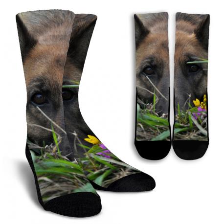 Split German Shepherd Crew Socks