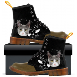 Womens Canvas Boots Gray Cat