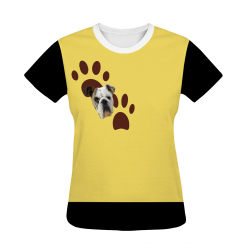 Women's All Over Print T-shirt - Yellow